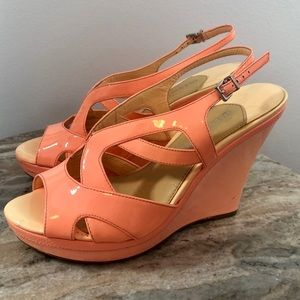 Gianni Bini Pink Wedges Size 8.5 Patent Leather